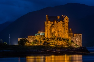 Eilean Donan castle in the night, Scotland